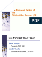 The Role and Duties of the Eu Qualified Person