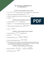XI Maths - Second Class Test
