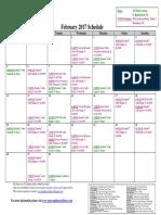 SCDNF February 2017 Schedule