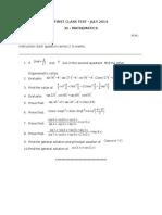 XI Maths - I Class Test