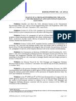 Resolution No. 14. 2016SGD