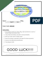FM Final Exam