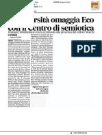 L'Università omaggia Eco con il Centro di Semiotica - Il Corriere Adriatico del 20 febbraio 2017