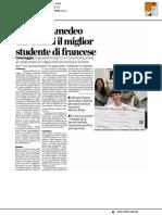 """""""Oui"""", è Amedeo del Galilei il miglior studente di francese - L'Eco di Bergamo del 21 febbraio 2017"""
