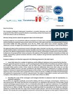 """Lettre des organisations d'employeurs européens sur la révision de la """"directive Cancérigènes"""""""