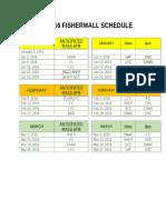 2016 Fishermall Schedule