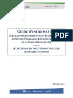 Guide de Candidatures Pour Institutions Candidates Et Leurs Candidates Candidats PCBF Cohorte 2017