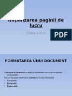 initializarea paginii