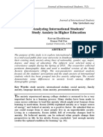 Analyzing International Students' Study Anxiety in Higher Education. Rezvan Khoshlessan and Kumer Pial Das pp. 311-328
