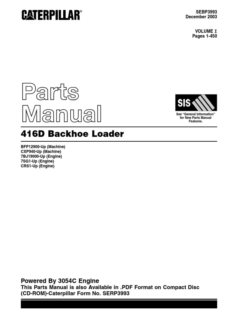 Caterpillar 416D Backhoe Loader Parts Manual