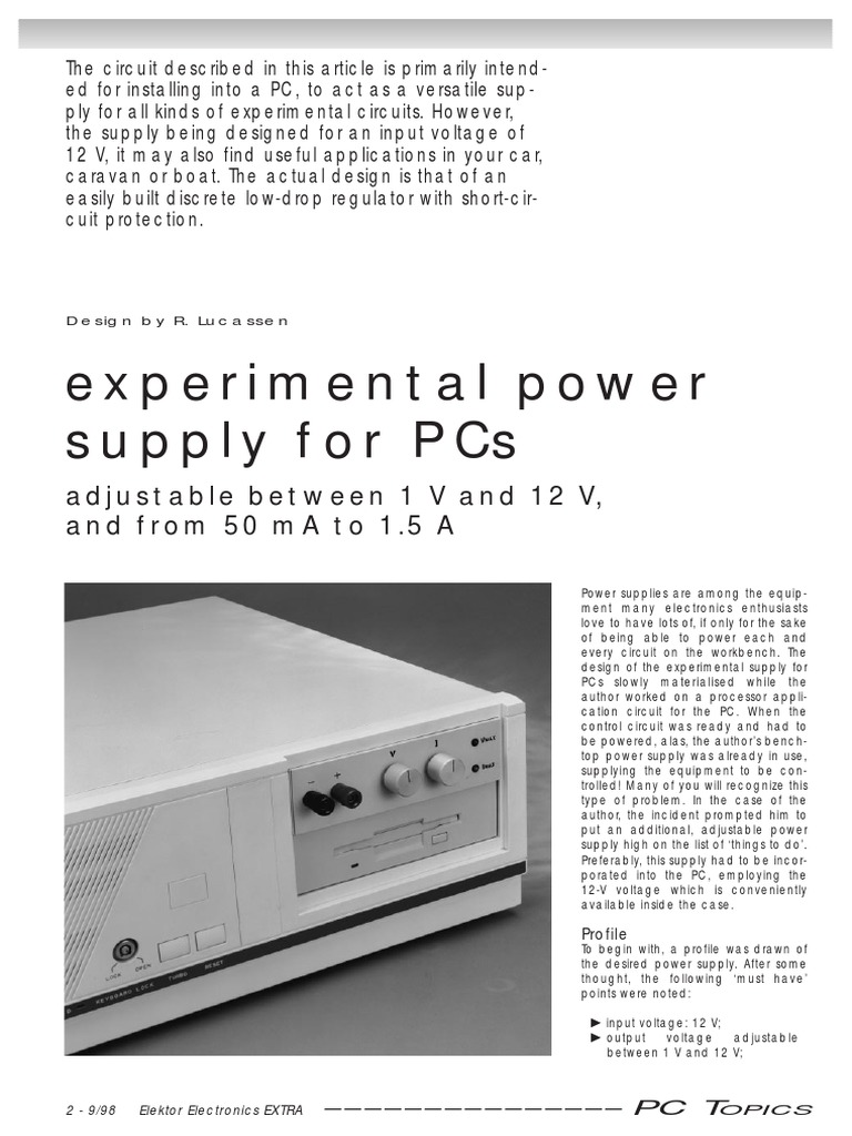 elektor electronics 1998 09 power supply amplifier rh scribd com