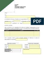 Modelo de Solicitud - Matricula en Especialidad