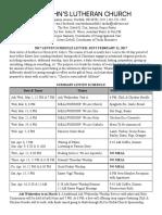 2017 Lenten Schedule Letter
