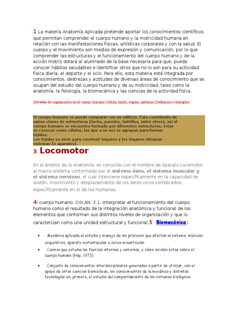 1 La Materia Anatomía Aplicada Pretende Aportar Los Conocimientos ...