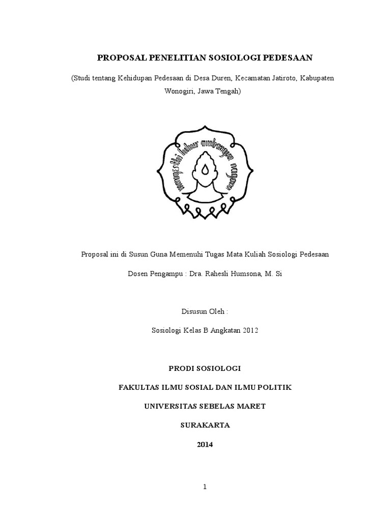Proposal Penelitian Sosiologi Pedesaan
