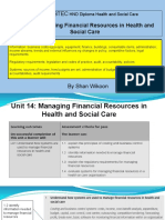 Lesson 2 - Pearson BTEC HND Diploma - Unit 14- Managing Financial Resources in Health and Social Care