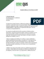 Carta a Ricardo Monreal