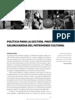 Política Para La Gestión, Protección y Salvaguardia Del Patrimonio Cultural