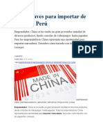 Cinco Claves Para Importar de China Al Perú