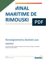 Manuel du terminal pétrolier de Rimouski - Suncor - 04-2015 - Rimouski Terminal - Marine Manual FR