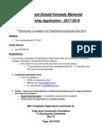 2017 - High School Donald Kennedy Memorial Scholarship
