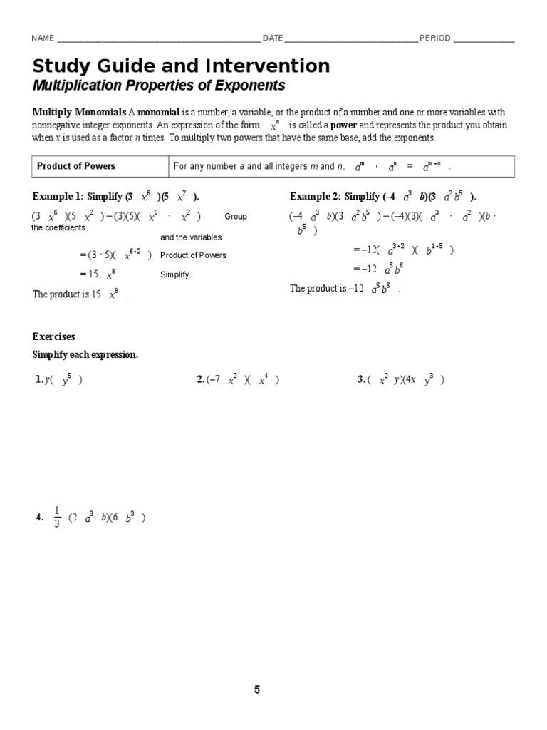 7 1 multiplication properties of exponents worksheet ...