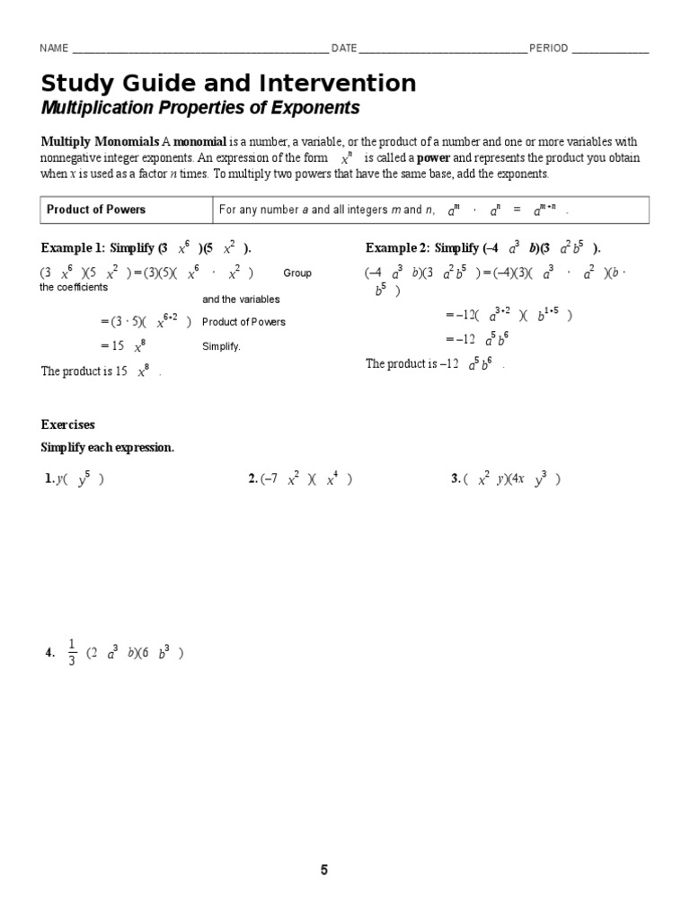 7 1 Multiplication Properties Of Exponents Worksheet Exponentiation Multiplication