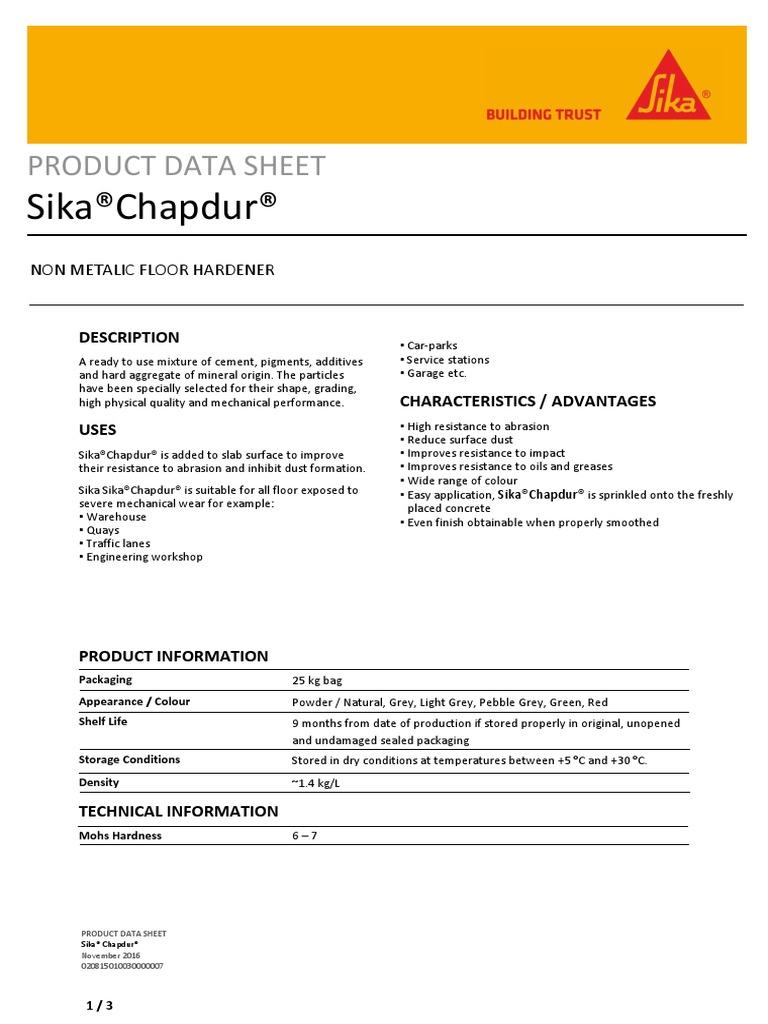 Sika Chapdur Pds En   Concrete   Materials