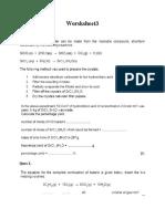 Stiochiometry Worksheet 3