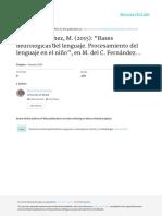 Bases Neurológicas Del Lenguaje. Procesamiento Del Lenguaje en El Niño