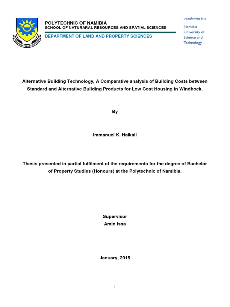 Alternative Building Technology Research Paper Affordable Housing