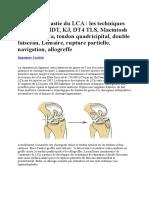 Ligamentoplastie Du LCA