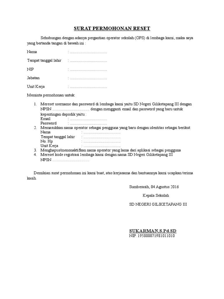 Contoh Surat Permohonan Reset Operator Sekolah