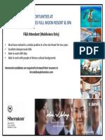 F&B Attendant Vacancy