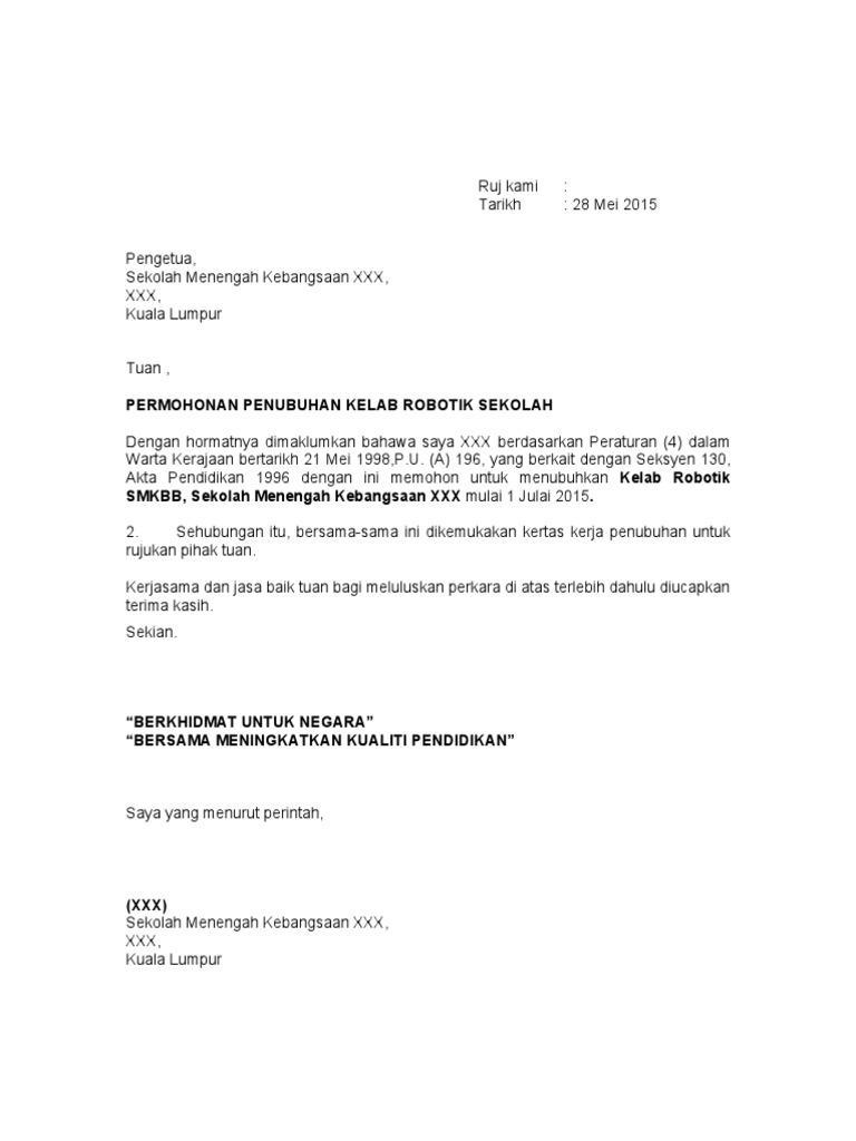 Contoh Surat Permohonan Penubuhan Persatuan