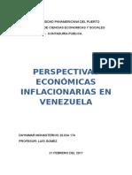 Perspectivas Economicas Inflacionarias en Venezuela