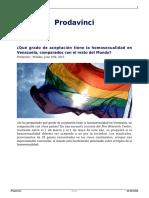 Que Grado de Aceptacion Tiene La Homosexualidad en Venezuela Comparados Con El Resto Del Mundo