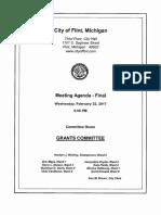 February 22, 2017 Flint City Council Grants Committee Agenda