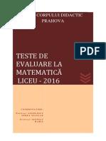 Teste de Evaluare La Matematica - Liceu- 2016 Final