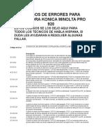 Codigos de Errores Para Copiadora Konica Minolta Pro 920