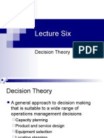 Lecture Six Decision Theory