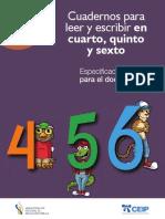 Especificaciones para Maestros de los cuadernos para 4-5-6to