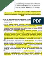 Directrices de Práctica Clínica de La Sociedad de Enfermedades Infecciosas de América Para El Tratamiento de Infecciones Por Staphylococcus Aureus Resistentes a La Meticilina en Adultos y Niños