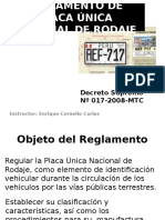 Reglamento de Placa Única Nacional de Rodaje