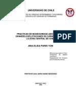 Práctica de Bioseguridad Adoptadas en Grandes Explotaciones de Carne Bovina de La Zona Central de Chile