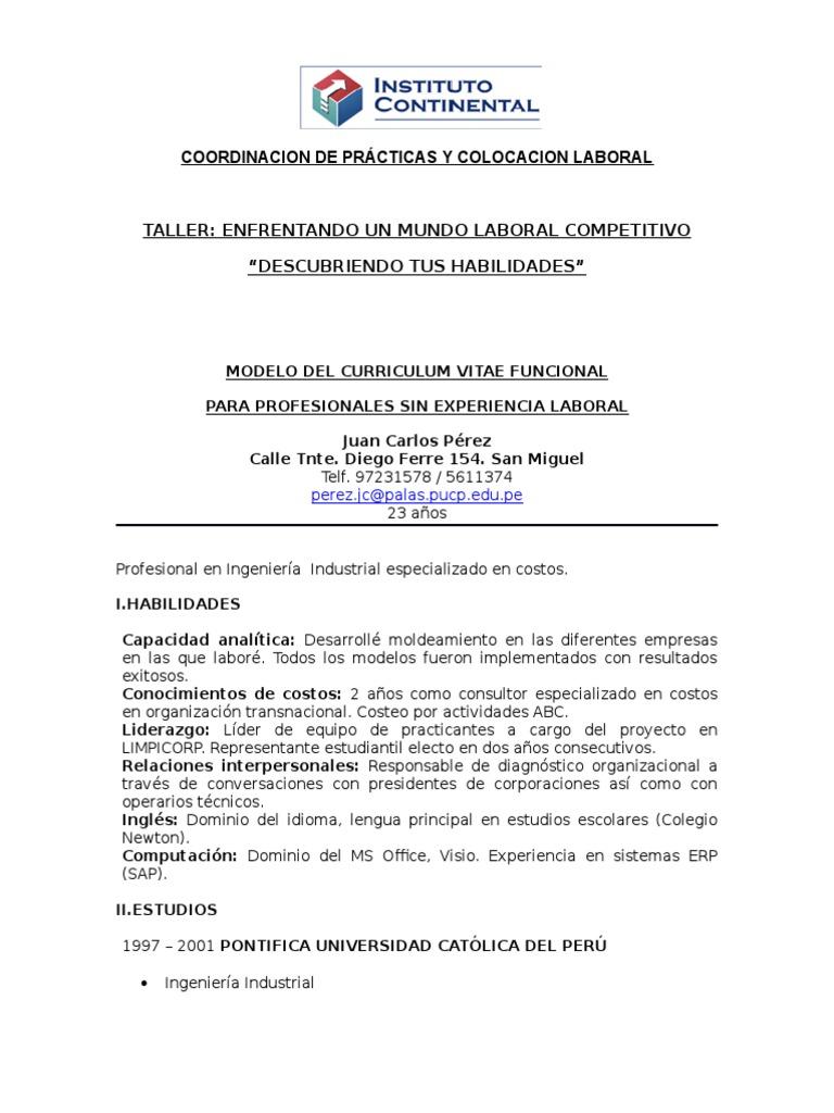 Moderno Currículum Vitae Para Estudiante De Pregrado Sin Experiencia ...