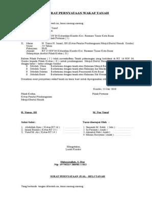 Surat Pernyataan Wakaf Tanah