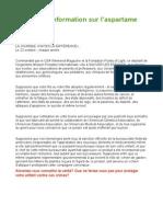 Information Sur l'Aspartame