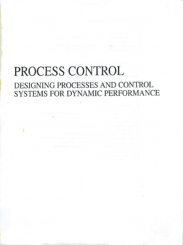 Process Control 2nd Edition T E Marlin Automation Chemical Engineering