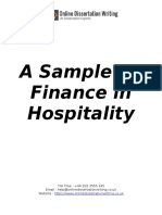 Finance in Hospitality Dissertation Sample